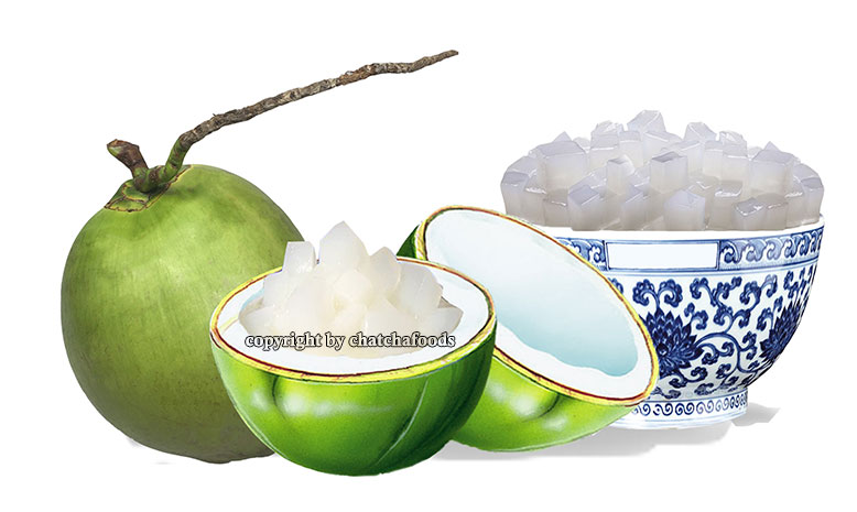 Coconut gel in water (nata de coco)